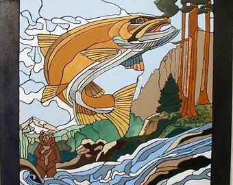 Salmon Wood Sculpture Wall Art, Rustic Wall Decor, Wood Working Intarsia wood Art Wall Hanging