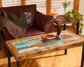Reclaimed  Wood Coffee Table, Teak Coffee Table, Colorful Table, Bali Boat Coffee Table for Living Room, Table in Custom Size, Free Shipping