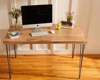 Mid century modern desk featuring an Ambrosia Maple wood top with hairpin legs, Entry Way Table