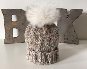 Harvest Marbled Wooly Hat w. Fur POM POM