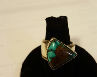 Southwestern contemporary design. Sterling silver ring.  Natural  turquoise