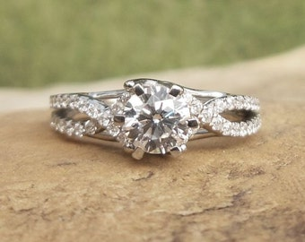 Round 5.5MM Diamond Ring, 14k White Gold, Semi Mount Ring, Engagement Ring