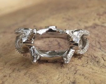 Solid 14K White Gold Oval 7X9MM Fashion Semi Mount Ring / Diamond Ring