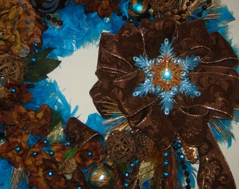"""26"""" Turquoise and Brown Feather Christmas Wreath"""