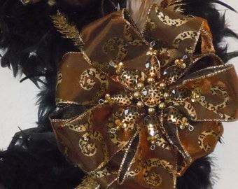 "24"" Black Feather Chrismtas Wreath"