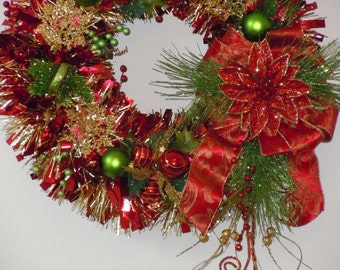 "22"" Red And Green Tinsel Christmas Wreath"