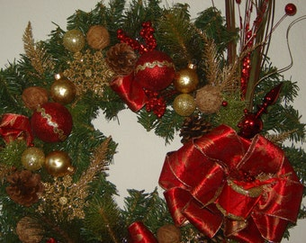"""24"""" Fir Christmas Wreath with Gold and Red"""