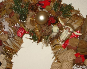 "28"" Western Feather Christmas Wreath"
