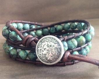 Healing Stone Wrap Bracelet - African Turquoise