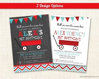 Little Red Wagon Birthday Party Invitations - First Birthday Invitations - Digital or Printed - 5598