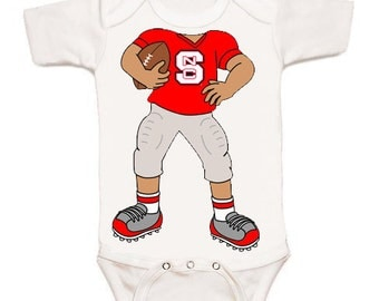NC State Wolfpack Heads Up! Football Baby Bodysuit