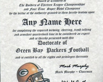 Green Bay Packers ~  football fan ~certificate ~ diploma ~gift ~sign ~ man cave ~ office ~ dorm