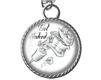 Tattoo Necklace, Get Inked, Tattoo Gun Image Pendant Key Chain Handmade