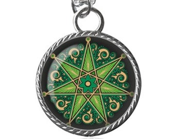 Wiccan Necklace, Elven, Septagram, Fairy Star, Faerie Image Pendant Key Chain Handmade
