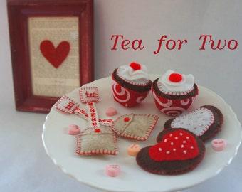 Tea for Two, Hearts Tea Party, Felt Cupcakes, Felt Heart Cookies, Felt Heart Teabags
