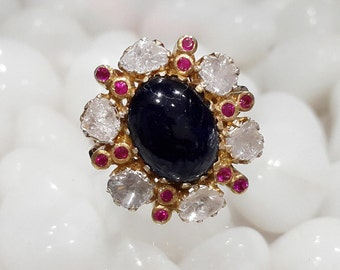 Victorian look 12.42 ct diamond/polki blue sapphire wedding/engagement ring 18 kt gold plated 925 silver free shipping.