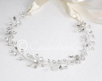Wedding Headband Hair Vine Silver Forehead Bridal Headpiece Ivory Ribbon Jewelry