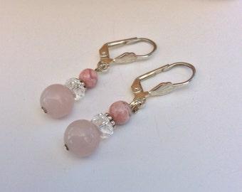 Rose Quartz and Rhodonite Leverback Dangle Earrings