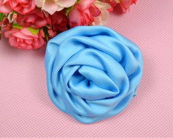 3 inch Satin Rolled Rosettes,Turquoise,Satin Flower,Ruched Rosettes,Satin rosettes,Rolled Rosettes,Wholesale ,Supply BF01