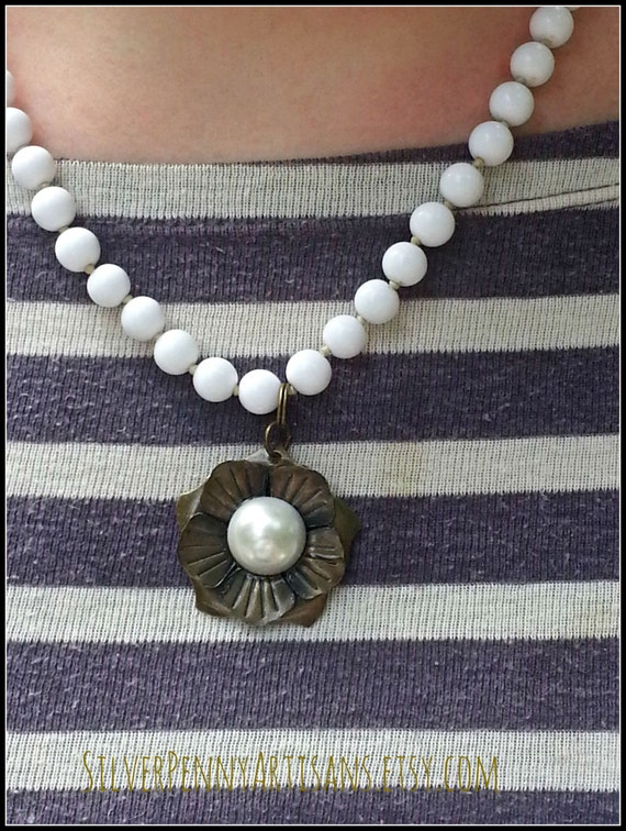 White Upcycled Necklace with Pendant/ 1960s Vintage Jewelry/ Brass Flower Pendant