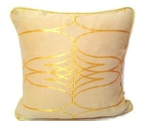 Gold piping pillow sham – 20x20 pillow cover – Shimmer satin cushion cover – Sparkle couch bedroom throw pillow – Geometric luxury accent