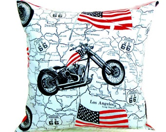 Rockabilly pillow – 20x20 pillow cover – Motorcycle cushion cover – Ivory Black red throw pillow – Route 66 Stars Stripes pillow sham decor