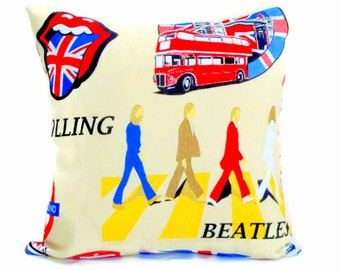 London throw pillow sham – 18x18 12x20 pillow cover – The beatles custom cushion cover – Rolling accent chair decor – Union Jack livingroom