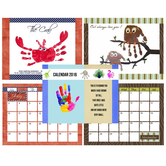 Handprint Calendar With Printable Poems Calendar Template 2016