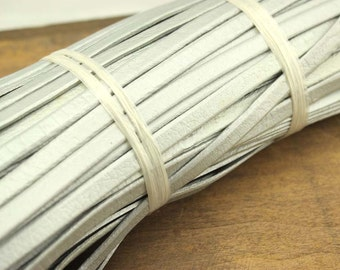 ETS-P096 silver leather cord/genuine leather cord/Christmas leather cord/cowhide leather/8*2 mm leather cord/flat cord/5 yards leather
