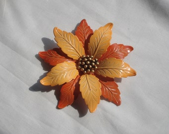 Flower Jewelry Brooch Costume Yellow Green Enamel Mid Century 02788
