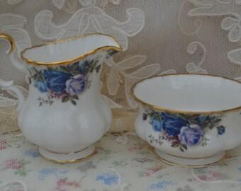 Royal Albert Moonlight Rose Milk Jug and Sugar bowl for Tea Set, Vintage English Bone China, First Quality.