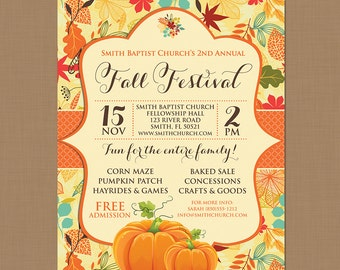 Fall Festival Harvest Invitation Poster / Pumpkin Patch Farm Template Church School Community Hayride Flyer / Fundraiser Autumn Craft Bake