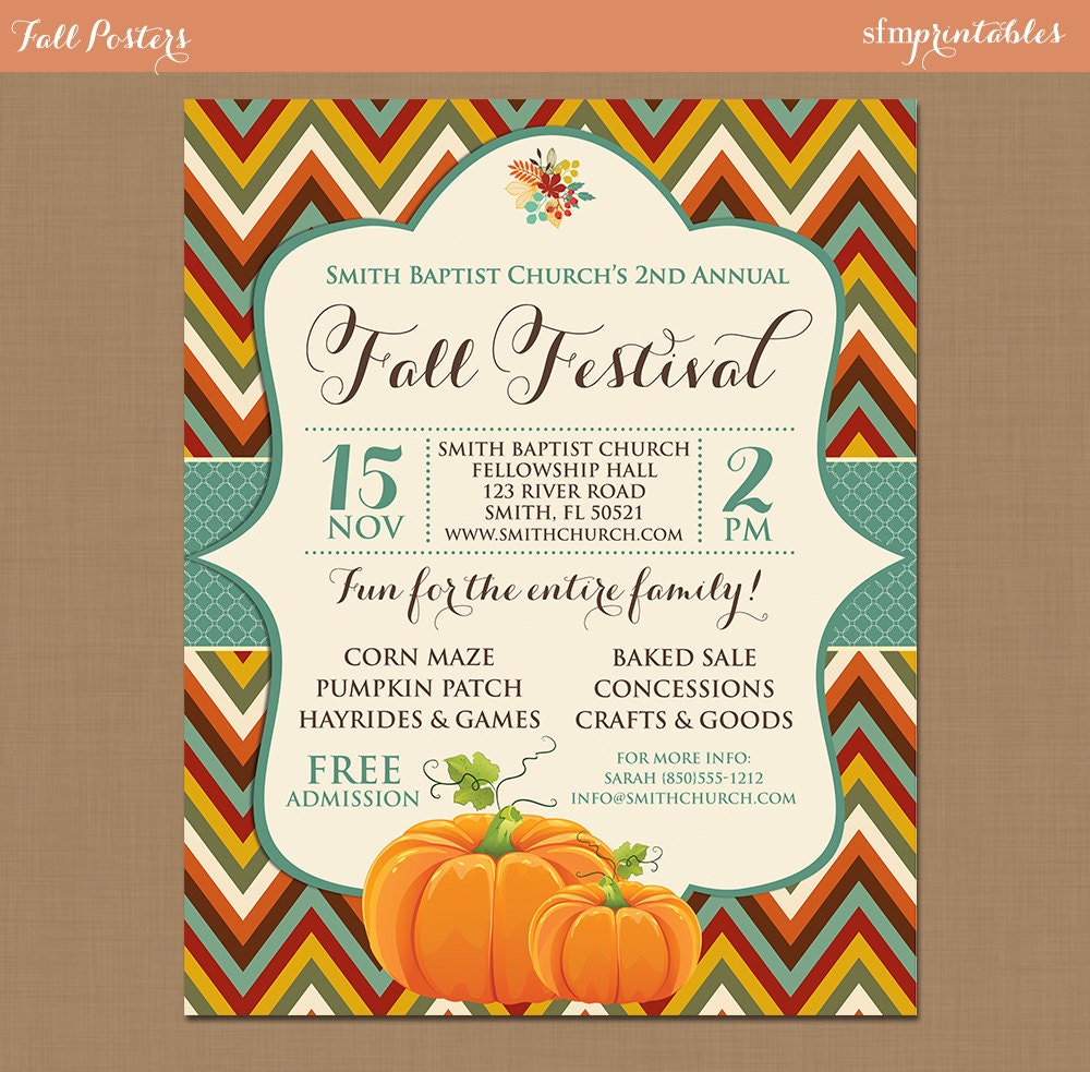 fall festival harvest invitation poster pumpkin patch farm 🔎zoom