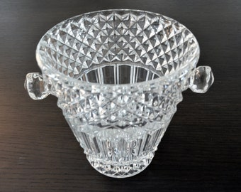 vintage crystal Ice Bucket with clamp - metal and glass - retro style - '50