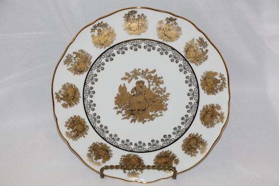 Gloria Bayreuth Fine Porcelain 24 K Gold Love Story Large Platter