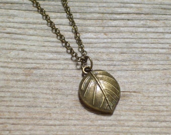Leaf Necklace, Fall Jewelry, Antiqued Brass Leaf Pendant Necklace, Antiqued Brass Plated Chain