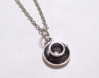 Coffee Cup Jewelry, Antiqued Silver Coffee or Tea Cup Charm Pendant Necklace, 3D Coffee Cup Charm, Silver Plated Chain