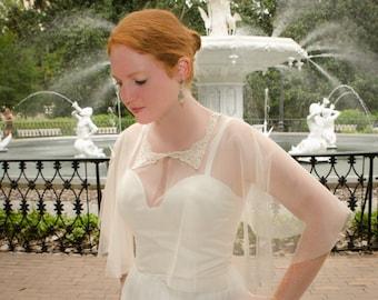 Ivory Bridal Cape, Wedding Cover-Up, Wedding Wrap, English Netting Wrap, Lace Capelet, Lace Cover Up- AVERY