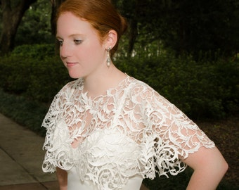 Lace Bridal Cape, Wedding Cover-Up, Wedding Wrap, Lace Wrap, Lace Capelet, Lace Cover Up- NORA