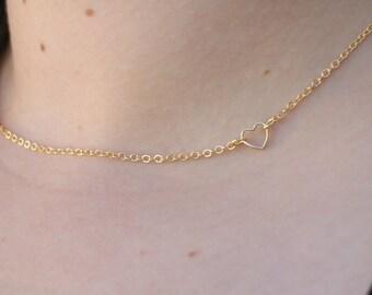 Heart Necklace - Charm Necklace - Tiny Necklace - Delicate Necklace - Love Necklace - Heart Pendant - Delicate Heart Necklace - Heart Charm