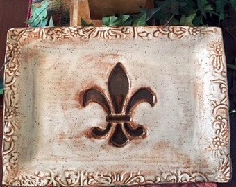 Pottery Serving Platter with Fleur De Lis Design