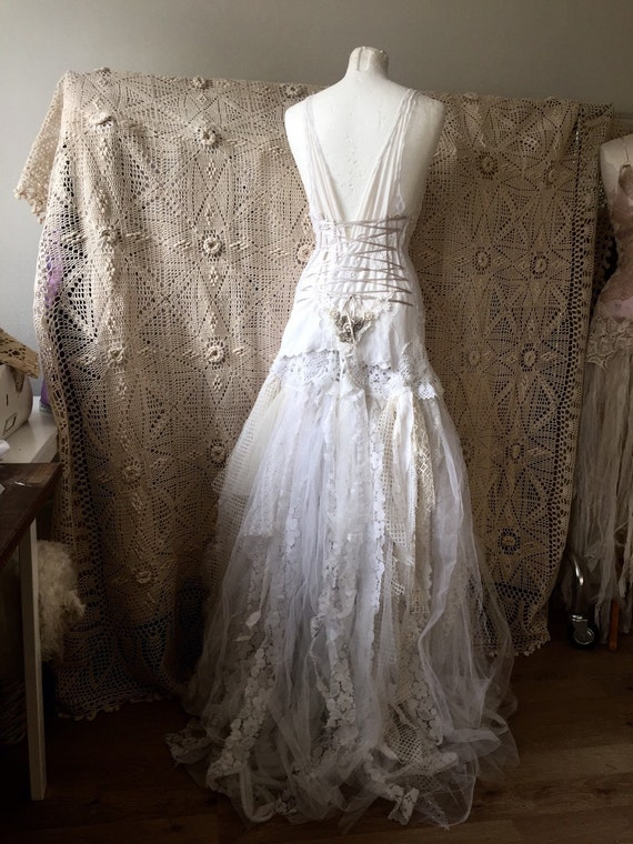 Antique lace handcrafted wedding gown shabby elegance for Fairytale inspired wedding dresses