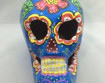 Bright blue sugar skull Catrina, Day of the Dead art