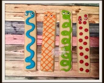 """Monster Decorated Sugar Cookie Sticks 5"""" -1 dozen"""