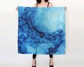 Blue, Watercolor Silk Scarf, Original Abstract Watercolor,