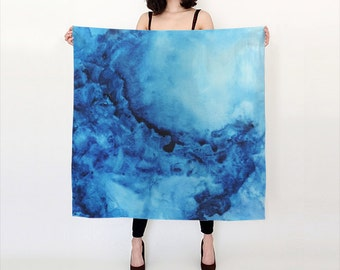 Blue, Watercolor Silk Scarf, Original Abstract Watercolor,