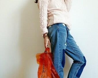 Jane's Handmade~women's sweater~cable/braid jumper/pullover~raglan sleeve/heap turtleneck~cashmere~purple/tan