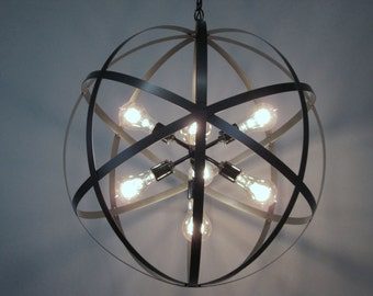 Modern Industrial Orb Chandelier Ceiling Light 24 Inch Sphere Wine Barrel Ring Chandelier 7 Light Sputnik Black