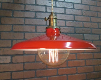 "Vintage Industrial Pendant Red Gas Station Shade Light 14"" Shade Large Edison Globe Bulb"