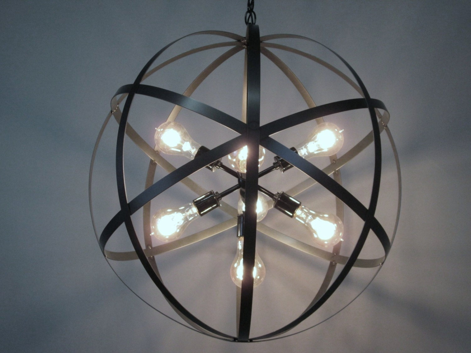Modern industrial orb chandelier ceiling light 24 inch sphere - Can light chandelier ...